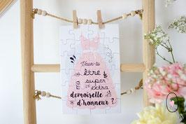 Puzzle : Demande en demoiselle d'honneur - Robe rose