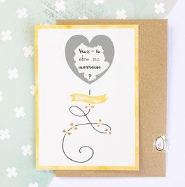 Carte postale à gratter : Demande marraine - Modèle ballon coeur jaune