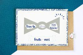 Carte postale à gratter : Demande Témoin noeud papillon