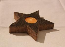 Teelichthalter Stern aus Eichen Altholz