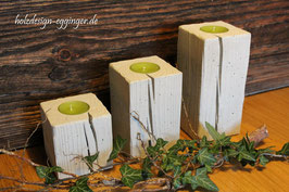 Teelichthalter aus Beton mit Holzoptik