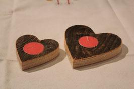 Teelichthalter Herz aus Fichten Altholz