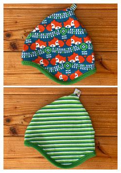 Retrofuchs  + Streifen grün - Wendezipfelmütze Jersey S