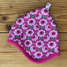 Daisies pink - Zipfelmütze gefüttert mit Fleece NB