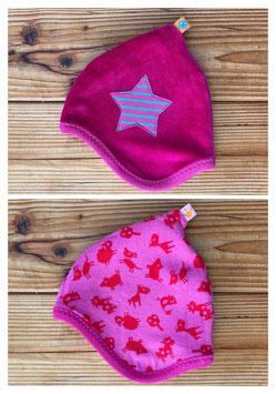 Tiere pink/rot + Nicky pink - Wendezipfelmütze Nicky NB
