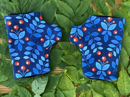 Blumentanz blau - Fingerlose Handschuhe Gr. 2