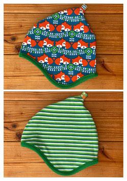 Retrofuchs + Streifen grün - Wendezipfelmütze Jersey M