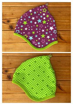 Sterne lila/bunt + Herzen grün - Wendezipfelmütze Jersey M