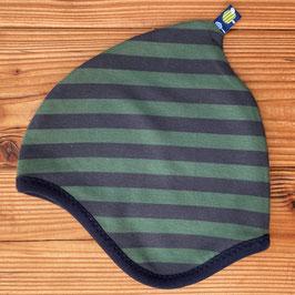 Streifen dunkelblau/grün - Zipfelmütze gefüttert mit Fleece M