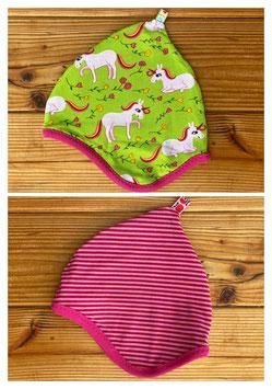 Einhorntraum grün + Streifen rot/pink - Wendezipfelmütze Jersey S