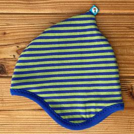 Streifen blau/grün - Zipfelmütze gefüttert mit Fleece S