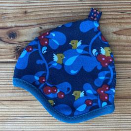 Vogel/Beeren dunkelblau - Zipfelmütze gefüttert mit Fleece NB