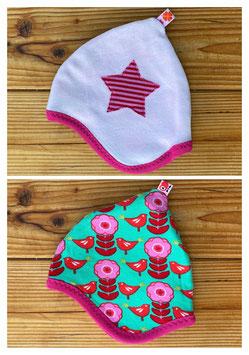 Lilleblumen rosa/grün + Nicky rosa - Wendezipfelmütze Nicky NB