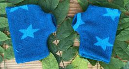 Sterne Frottee blau - Fingerlose Handschuhe Gr. 1