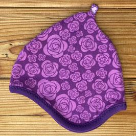 Rosenliebe lila - Zipfelmütze gefüttert mit Fleece XS