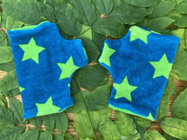 Sterne grün auf petrol - Fingerlose Handschuhe Gr. 2