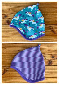 Einhorntraum türkis  + Streifen lila - Wendezipfelmütze Jersey XS