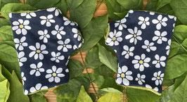 Blumen weiß auf blau - Fingerlose Handschuhe Gr. 1