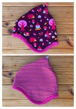 Forest weinrot/pink + Streifen rosa/pink - Wendezipfelmütze Jersey XS