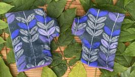 Blumen lila auf grau - Fingerlose Handschuhe Gr. 1