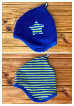 Streifen grün/blau + Nicky blau - Wendezipfelmütze Nicky XS