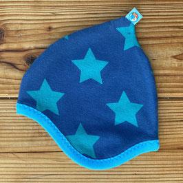 Sterne türkis auf blau - Zipfelmütze gefüttert mit Fleece NB