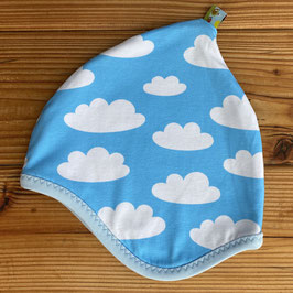 Wolken hellblau - Zipfelmütze gefüttert mit Fleece M