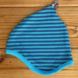 Streifen blau/türkis - Zipfelmütze gefüttert mit Fleece XS