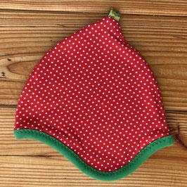 Punkte weiß auf rot - Zipfelmütze gefüttert mit Fleece XS