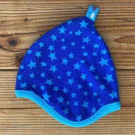 Sterne royalblau/türkis - Zipfelmütze gefüttert mit Fleece NB