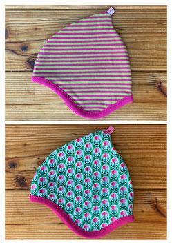 Tulpen grün/pink + Streifen grün/pink - Wendezipfelmütze Jersey XS