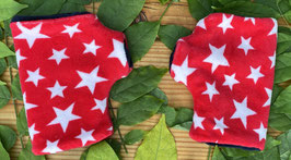 Sterne weiß auf rot Fingerlose Handschuhe Gr. 1