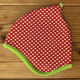 Herzen weiß auf rot - Zipfelmütze gefüttert mit Fleece M