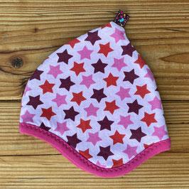 Sterne rosa/bunt - Zipfelmütze gefüttert mit Fleece NB