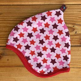 Sterne rosa-bunt - Zipfelmütze gefüttert mit Fleece XS