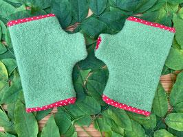 Wollwalk hellgrün/ Punkte rot - Fingerlose Handschuhe Gr. 2