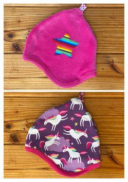 Einhorntraum lila + Nicky pink - Wendezipfelmütze Nicky XS