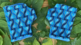 Herzen blau - Fingerlose Handschuhe Gr. 1