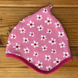 Daisies rosa - Zipfelmütze gefüttert mit Fleece XS