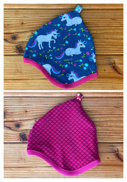 Einhorntraum dunkelblau  + Fächer beere/pink - Wendezipfelmütze Jersey XS