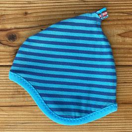 Streifen blau/türkis - Zipfelmütze gefüttert mit Fleece NB