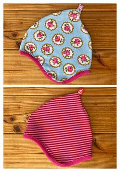 Rosen Medaillons + Streifen rot/pink - Wendezipfelmütze Jersey M