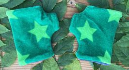 Sterne grün auf grün - Fingerlose Handschuhe Gr. 1