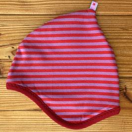 Streifen flieder/rot - Zipfelmütze gefüttert mit Fleece M