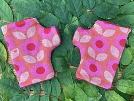 Daisy pink auf lachs - Fingerlose Handschuhe Gr. 2