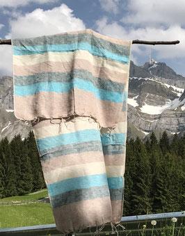 Kleine gestreifte Yak Wolldecke / Schal (Beige, Grau, Blau)