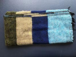 Große gestreifte Yak Wolldecke (Blau, Gelb, Grün)