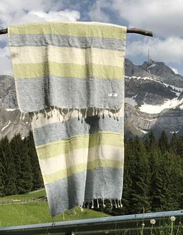 Kleine gestreifte Yak Wolldecke / Schal (Beige, Grau, Grün)