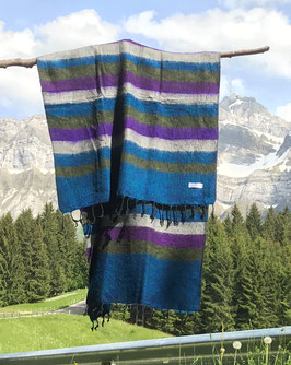 Kleine gestreifte Yak Wolldecke / Schal (Blau, Grün, Violett)