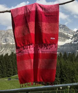 Kleine gestreifte Yak Wolldecke / Schal (verschiedene Rottöne)